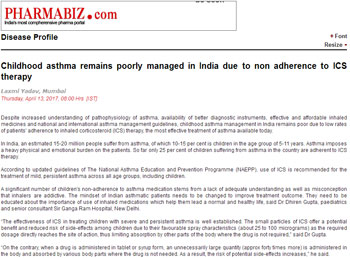 Childhood asthma remains poorly managed in India due to non adherence to ICS therapy