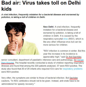 Bad air: Virus takes toll on Delhi kids